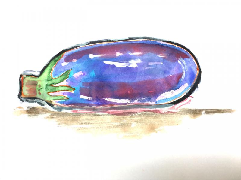 Aubergine liegend