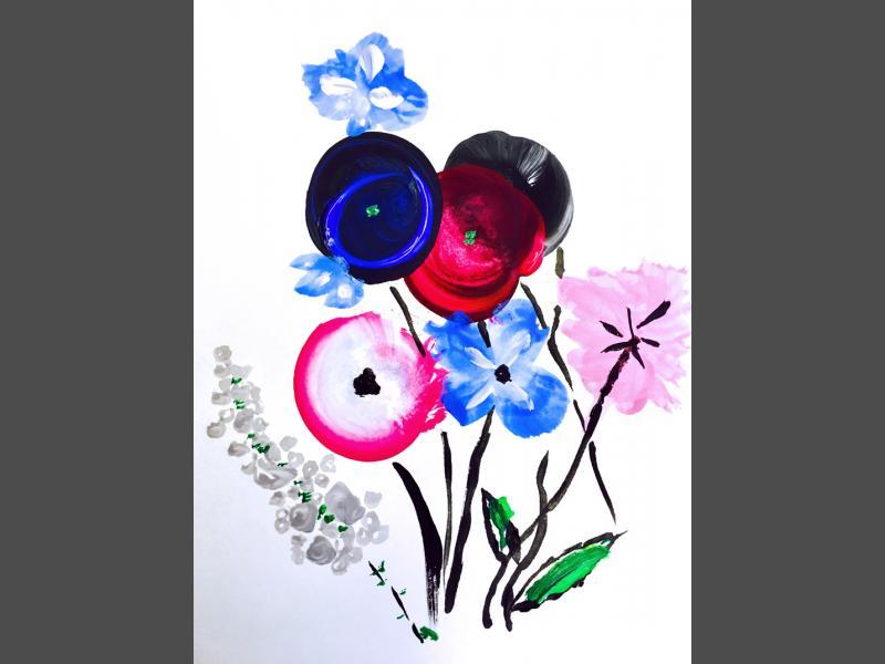 Blumenstrauss mit Schwarz