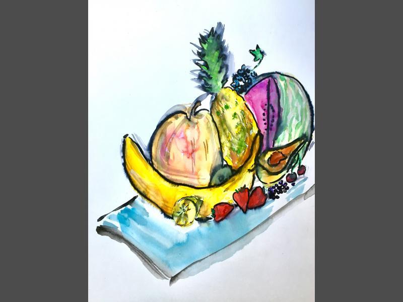 Früchte auf blauem Glas